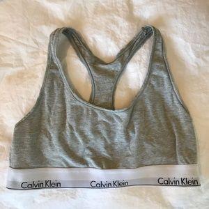 Calvin Klein Gray Cotton Racerback Bra